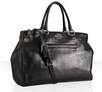 Prada black lambskin zip pocket medium tote