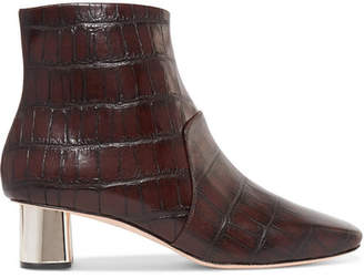 Nanushka - Clarence Croc-effect Leather Ankle Boots - Dark brown