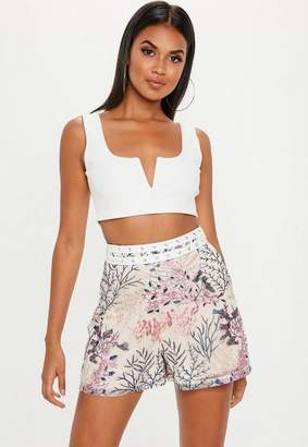 Missguided Nude Embroidered Lace Ladder Shorts