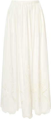 Rhode Owen Eyelet Cotton Maxi Skirt Size: M