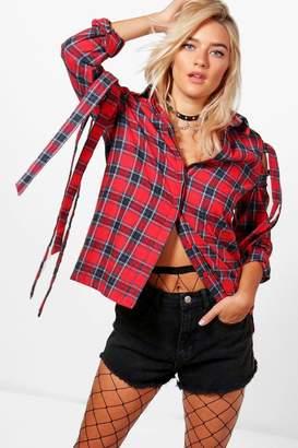 boohoo Ella Check Tie Cold Shoulder Shirt