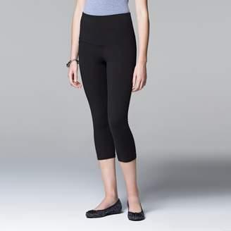 Vera Wang Simply Vera High-Waisted Mesh Panel Shaping Capri Leggings
