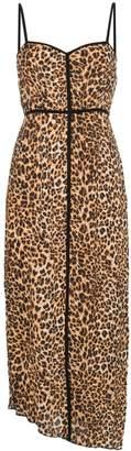 Nanushka leopard-print spaghetti strap midi dress