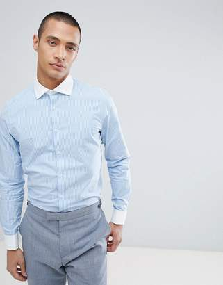 Asos Design Smart Stretch Slim Stripe Shirt With Cutaway Collar And Double Cuffs