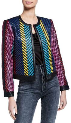 Alice + Olivia Kidman Woven Leather Jacket