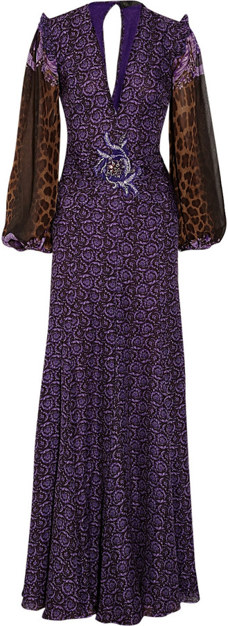 Versace Plunge-front printed silk-crepe gown