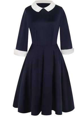 Elfremore Women Peter Pan Collar Casual Dress Wednesday Addams Dress 3/4 Sleeve