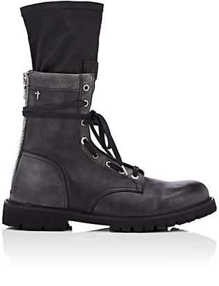 RtA Men's Distressed Leather Combat Boots - Black