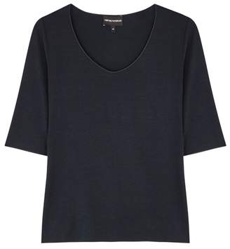 Emporio Armani Navy Stretch-jersey Top