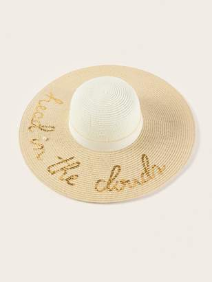 3b4e68d68f93b Shein Sequin Letter Decor Floppy Hat