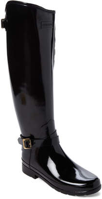 Hunter Black Refined Quilted Riding Tall Rain Boots