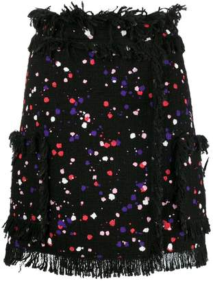 MSGM paint-splattered wrap skirt