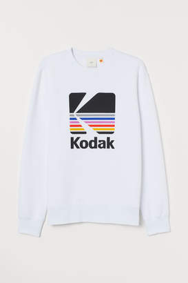 H&M Sweatshirt with Printed Design - White