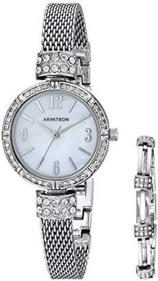 Swarovski Armitron Women's 75/5548MPSVST Crystal Accented -Tone Mesh Watch and Bracelet Set