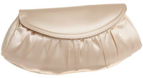 La Regale Gathered Satin Half Moon Clutch