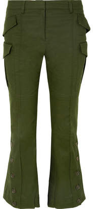 Rokh - Cotton-drill Flared Pants - Army green