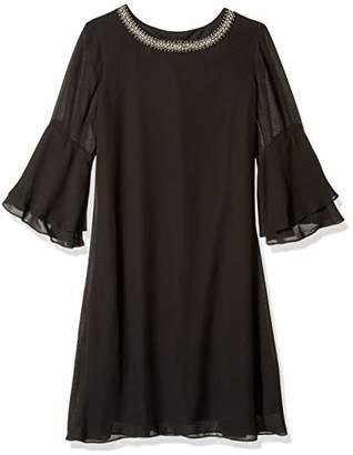 SL Fashions Women's Chiffon Long Sleeve Cocktail Dress