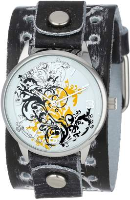 Nemesis Watch Women's THR827N Classic Yellow Plant Art Leather Cuff Band Watch