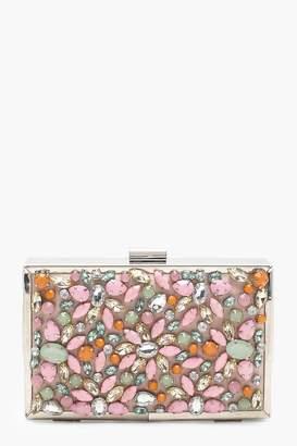 boohoo Premium Kate Encrusted Pastel Box Clutch