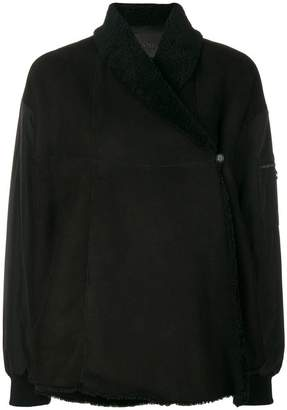 Drome lined asymmetric coat
