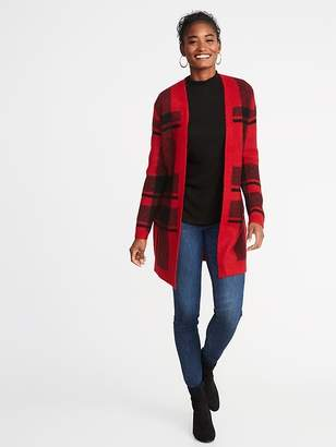 Old Navy Plaid Open-Front Sweater for Women