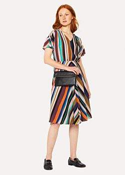 Women's V-Neck 'Expressive Stripe' Print Dress