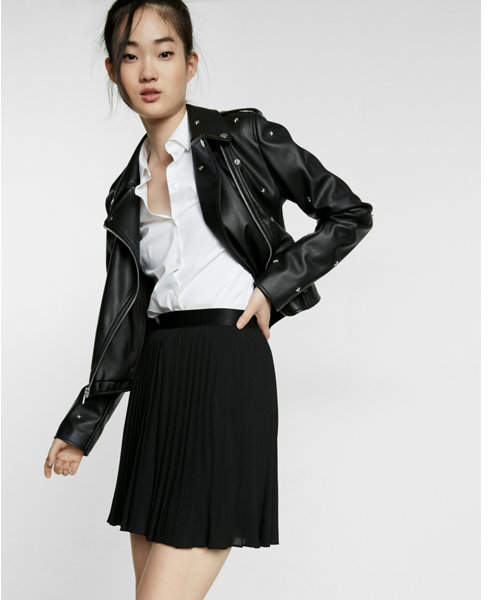 Express high waisted pleated mini skirt