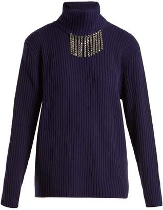 Christopher Kane Crystal-embellished roll-neck sweater