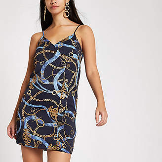 River Island Navy print button detail mini slip dress