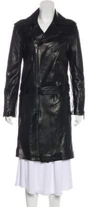 Plein Sud Jeans Leather Knee-Length Coat