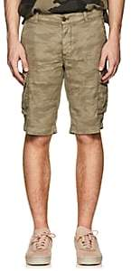 Barneys New York MEN'S CAMOUFLAGE LINEN-COTTON SHORTS-MD. GREEN SIZE 46