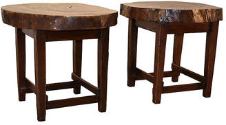 One Kings Lane Vintage 1950s Walnut Tables - Set of 2 - Black Sheep Antiques