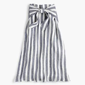 J.Crew Petite Point Sur tie-waist skirt in nautical striped linen