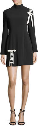 Cinq à Sept Izella Mock-Neck Long-Sleeve Mini Dress with Lace-Up Details