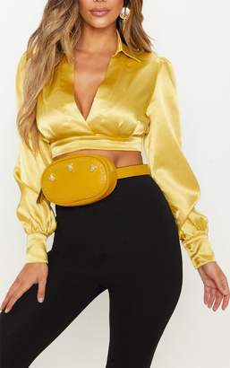 PrettyLittleThing Mustard Tiger Stud Bum Bag