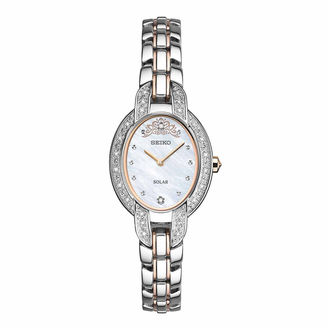 Seiko Womens Misty Copeland Limited Edition Tressia Solar with Diamond Accent Mother Of Pearl Dial Two Tone Bracelet Watch SUP327 $575 thestylecure.com