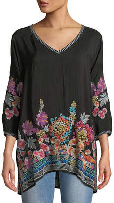 Johnny Was Petite Araxi Floral-Embroidered Tunic
