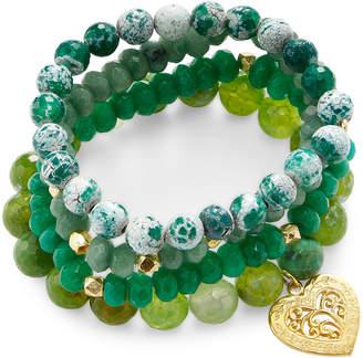 Good Charma 22K Yellow Gold Plated Heart & Multi Gemstone 4 Bracelet Charm Set