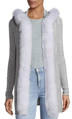Fox Fur Trim Hoodie Open Cardigan