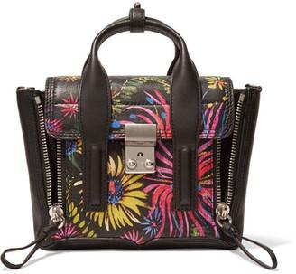 3.1 Phillip Lim - The Pashli Mini Printed Leather Trapeze Bag - Black $795 thestylecure.com