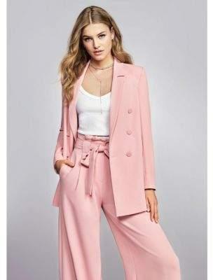 River Island Womens Pink paper bag waist wide leg pants