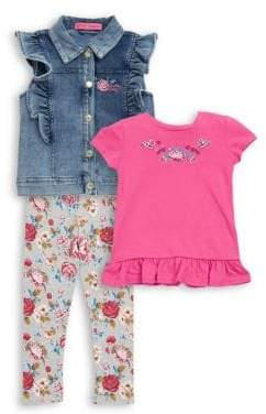Betsey Johnson Baby's Three-Piece Denim Vest, Top and Leggings Set