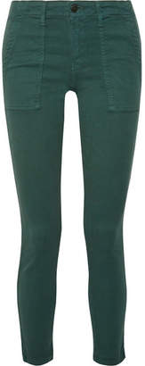The Great The Skinny Armies Brushed-twill Pants - Dark green