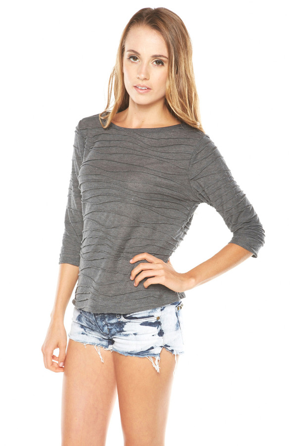 Tryst Grey Lined 3/4 Sleeve Top