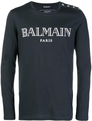 Balmain long sleeve logo T-shirt