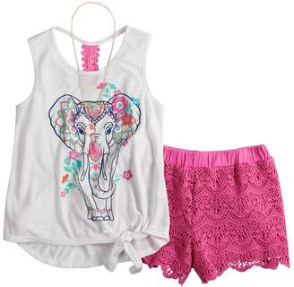 Self Esteem Girls 7-16 Tank Top & Crochet Shorts Set with Necklace