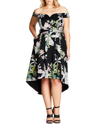 City Chic Off-The-Shoulder Floral High-Low Dress $149 thestylecure.com