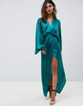 Asos DESIGN kimono sleeve maxi dress with twist detail