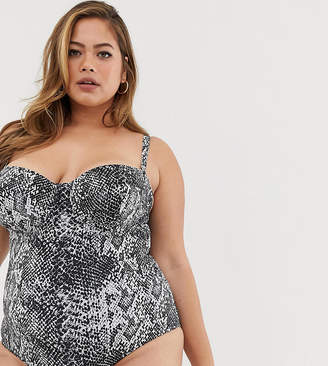 Wolf & Whistle Curve Exclusive Eco underwired swimsuit in snake