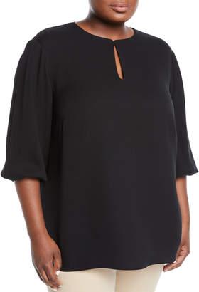 Lafayette 148 New York Kelsey Silk Cutout Blouse, Plus Size